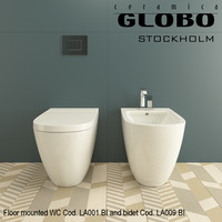 Globo Stockholm WC Cod.LA001.BI and bidet Cod. LA009.BI