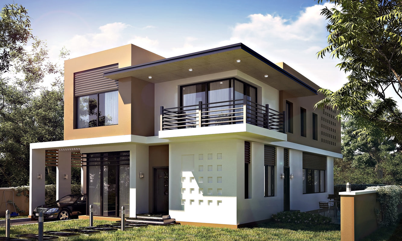 Realistic modern villa 3d max for Plan 3d villa moderne