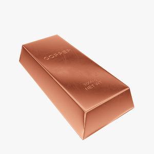 3d model ingot copper