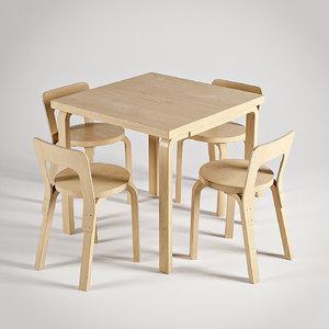 3d artek chair 65 table