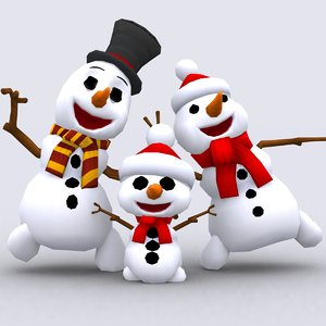 crazy dancing snowmen - 3d 3ds