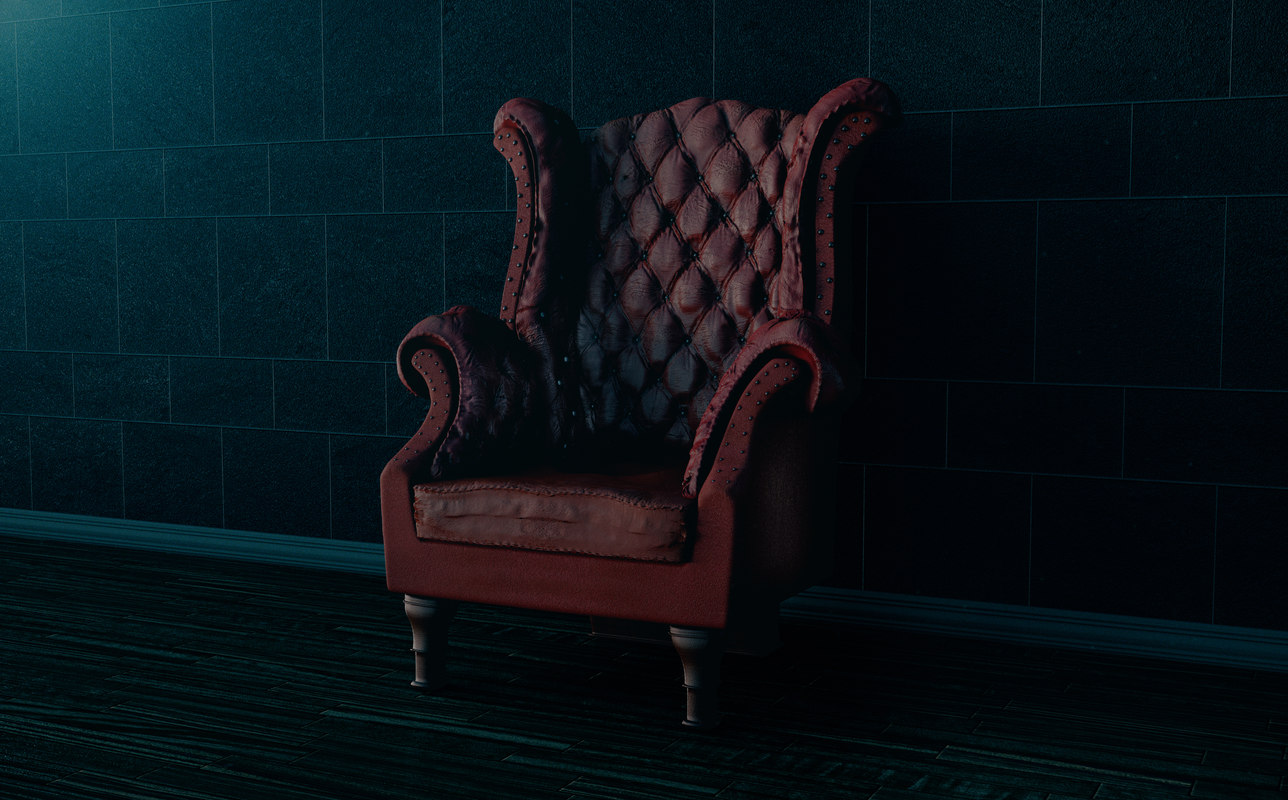 vintage leather chair 3d lwo