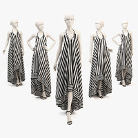 Woman mannequin GIA silk high-low striped dress