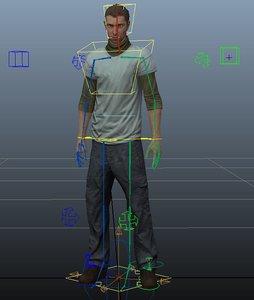 3d model of basic human rig ready