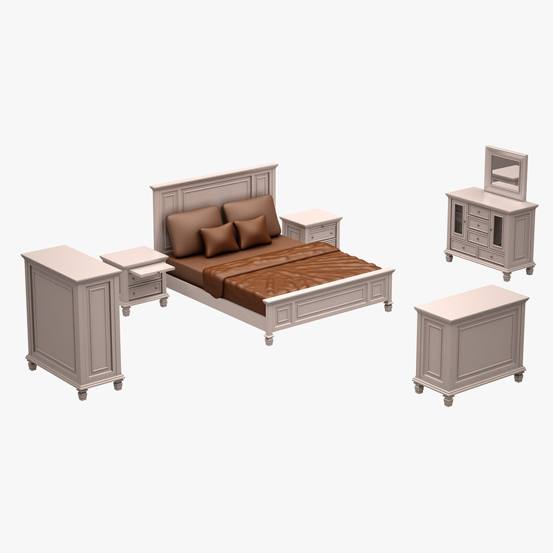 3d model of set bed