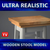 3ds stool wood