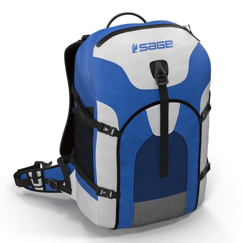 fishing backpack modeled 3d 3ds