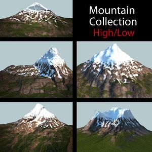 3d model snow mountains