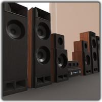 Sound System Audio Speaker Set Home Cinema Low Poly High Quality