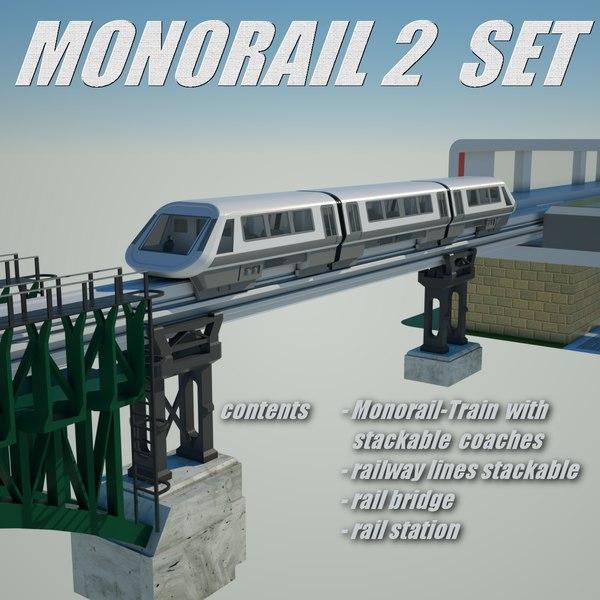monorail 2 set rail bridge 3d model