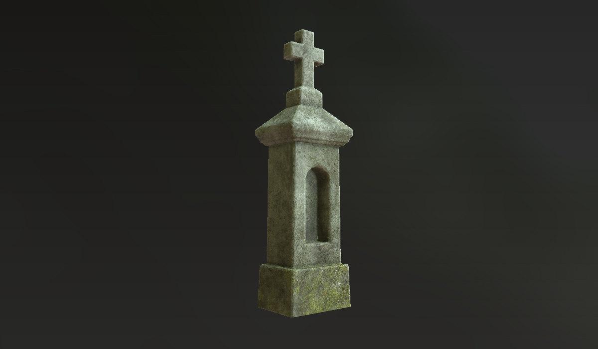 stone cross shrines - 3d model