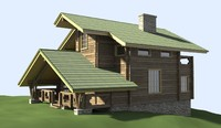 3d model house timber hill