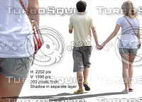 Cut out people: young  lovers couple walking oh the street holding hands