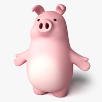 3d toon pork character model