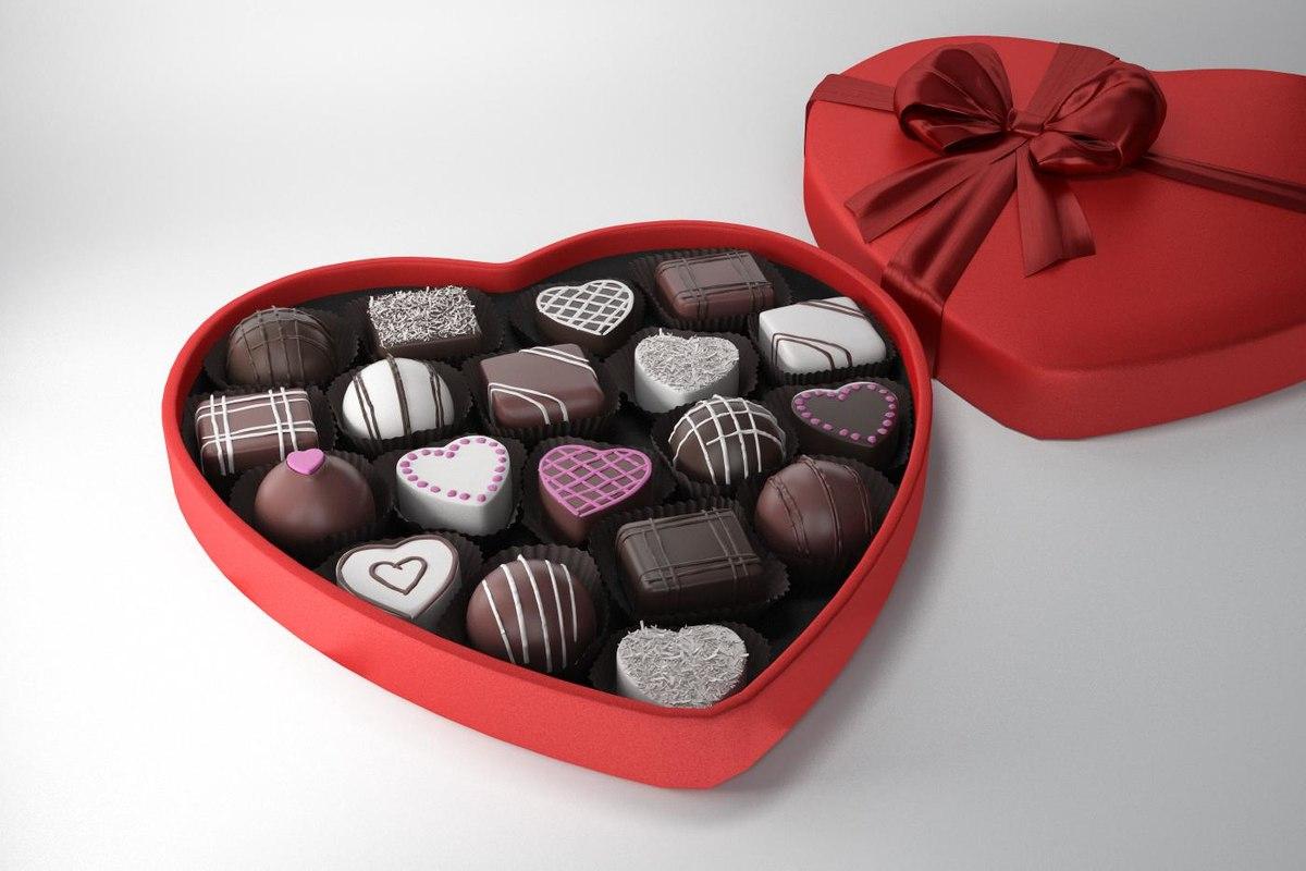 3d Model Valentines Chocolates Box