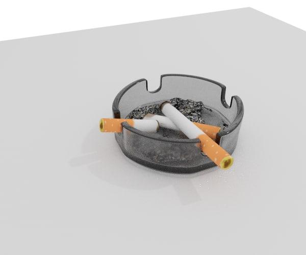 cigarets ashtray ashes 3d max