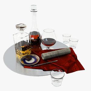 set decanter cognac whiskey 3d model