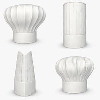 realistic chef hat set 3d model