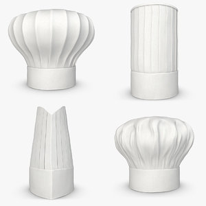 realistic chef hat set 3d model