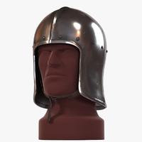 archer sallet medieval helmet 3d model