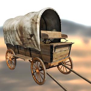 3d western wagon model