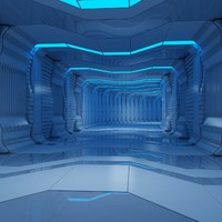 sci-fi interior scene tunnel animation 3d model