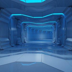 sci-fi interior scene tunnel animation 3d model