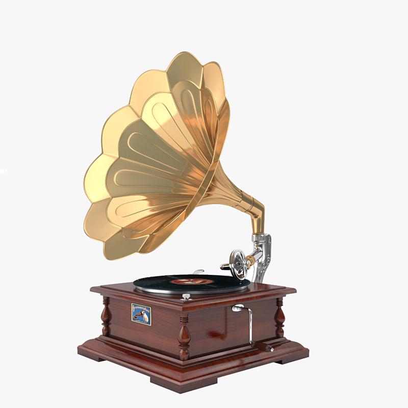 gramophone phonograph 3d model