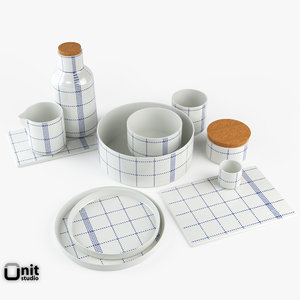 complete kitchen set plates 3d 3ds