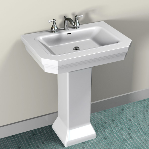 residential pedestal sink faucet 3d model