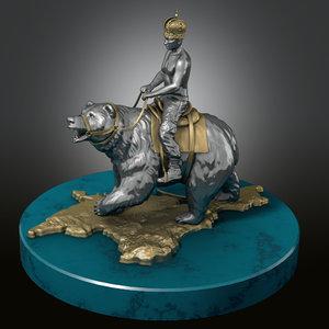 3d statuette rider bear model