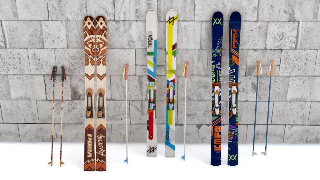 3d model skis mountain