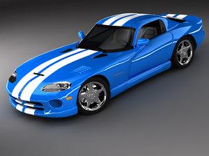 dodge viper gts sports car 3d max