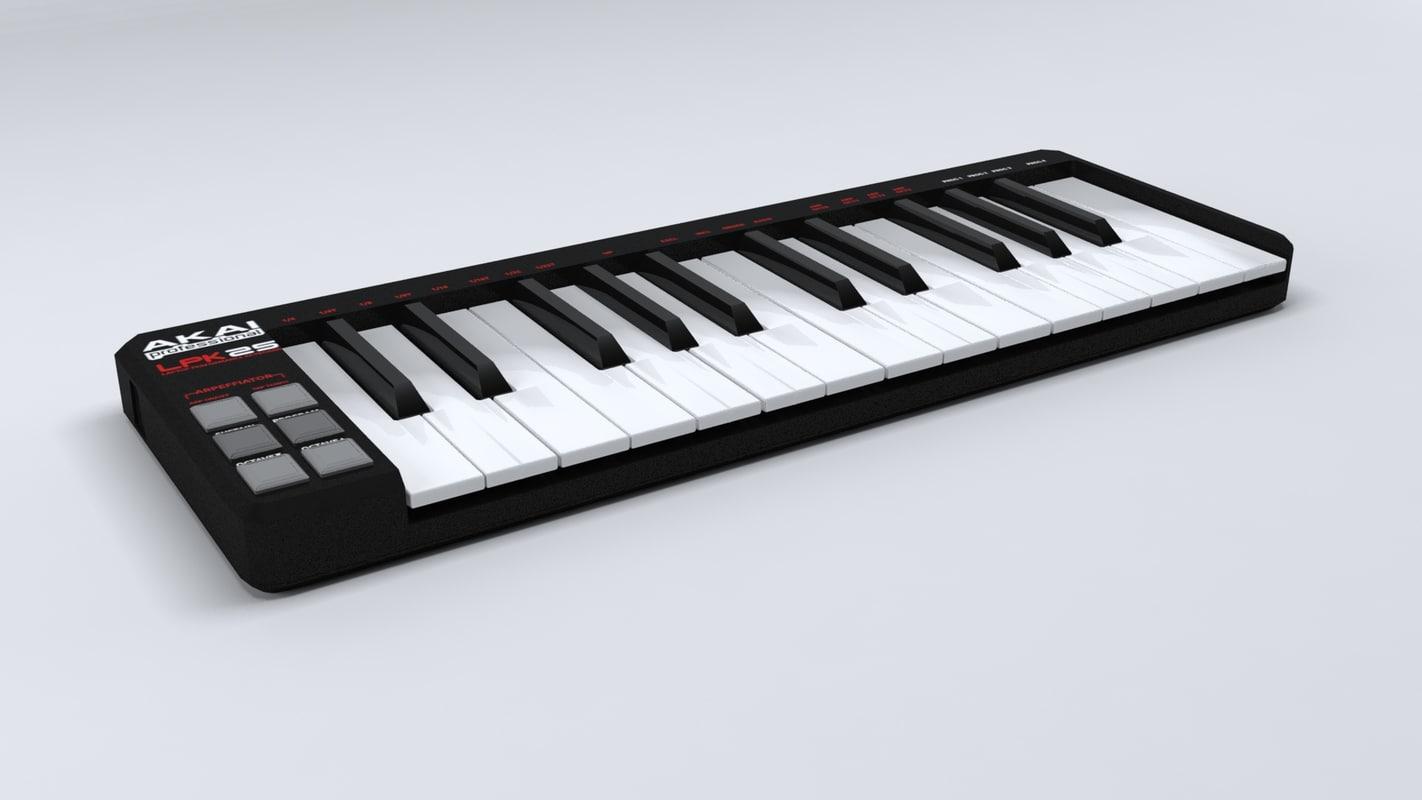 usb midi keyboard 3d model