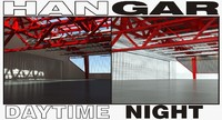 - hangar daytime night scenes 3d model