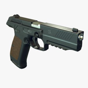 3d realistic lebedev pistol pl-14 model