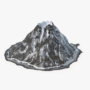 3d model of volcano snowy
