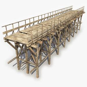 wooden bridge 6 3d obj