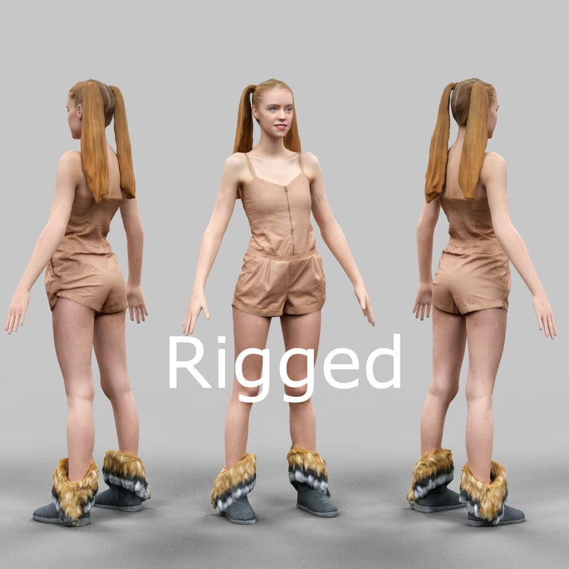 scanned female character rigged 3d x