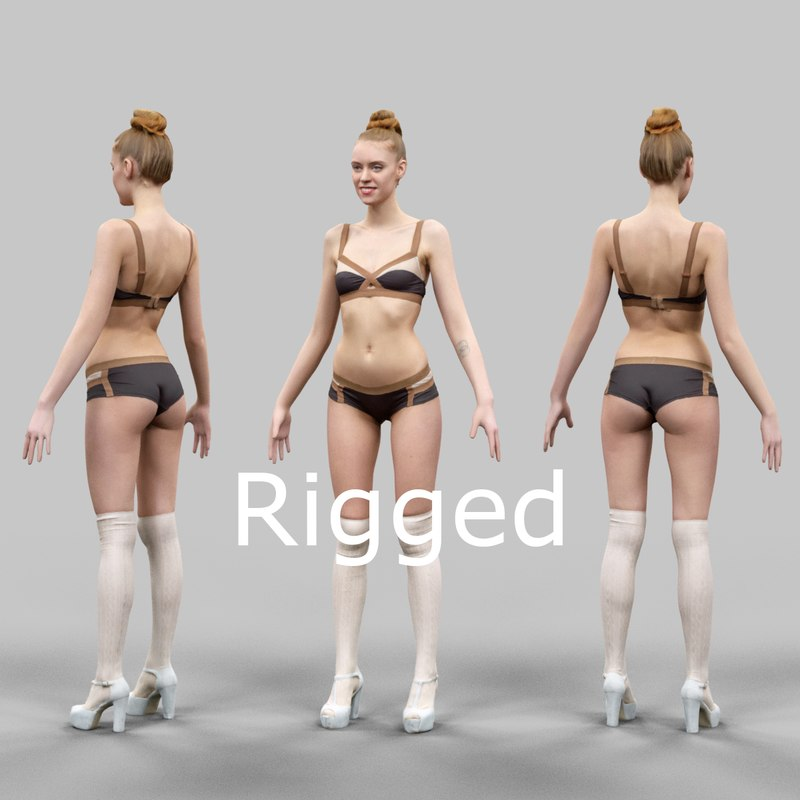 3d scanned female character rigged model