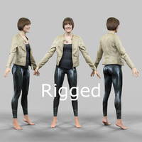 scanned female character rigged x