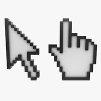3d arrow hand cursor model