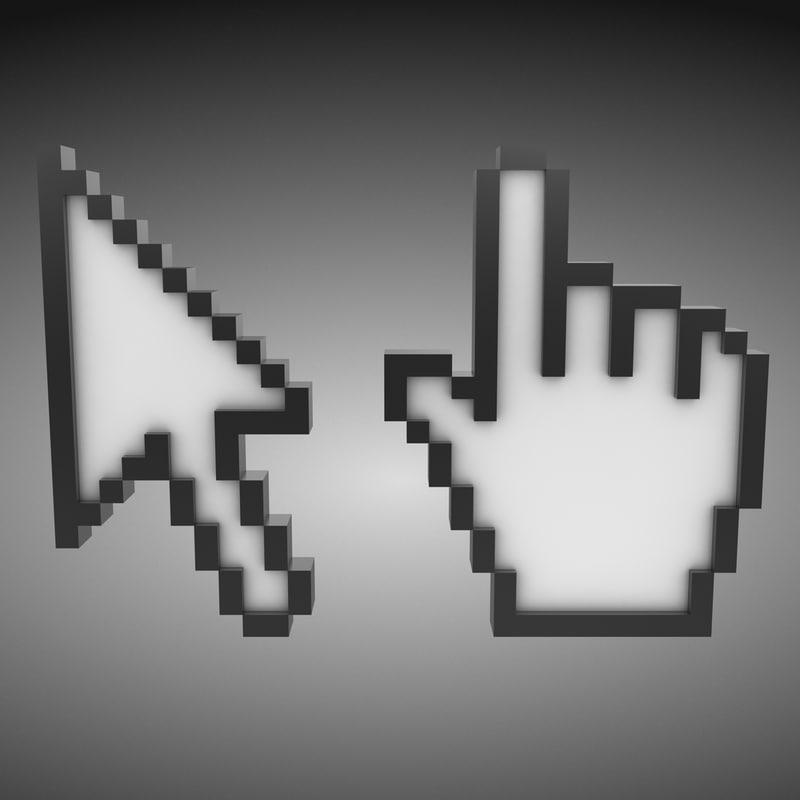 3d arrow hand cursor model