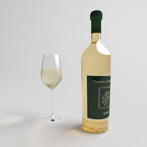 white wine glass bottle 3d max