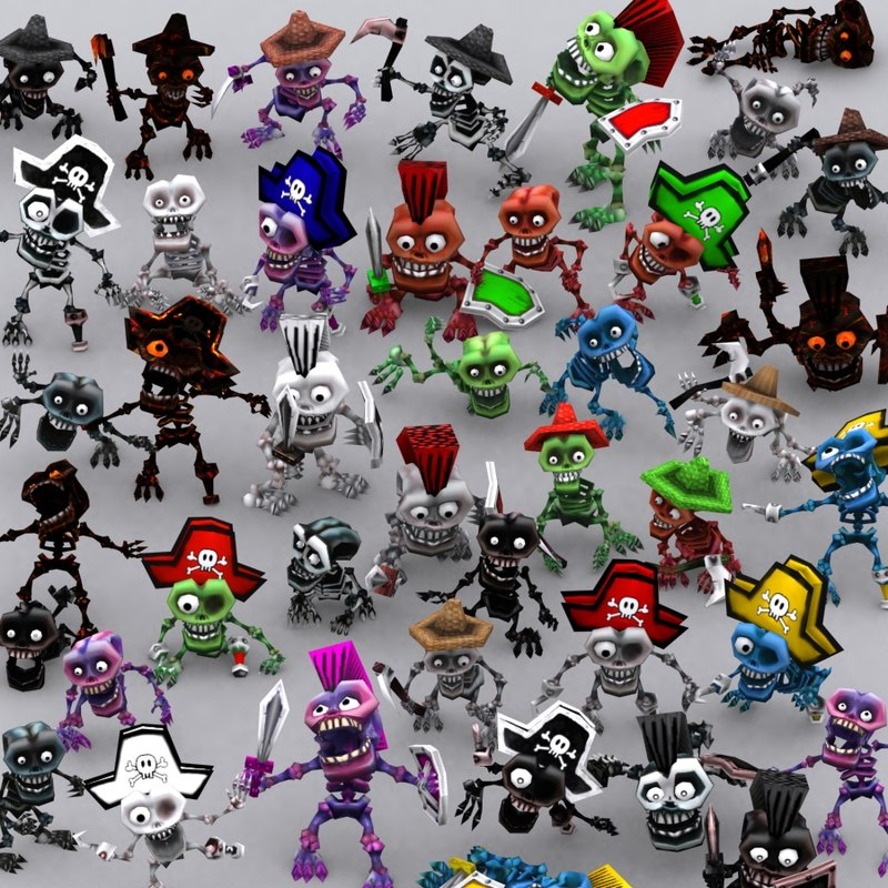 toonpets skeletons - 3d 3ds