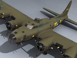 b-17f flying fortress memphis 3d model