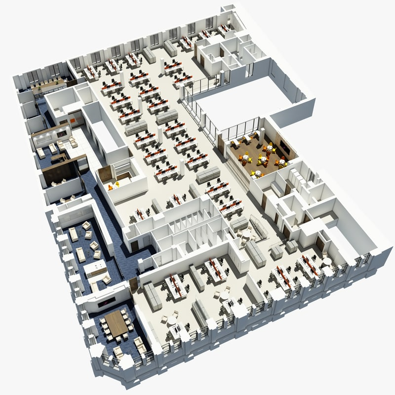 Office plan 3d model for 3d office planner