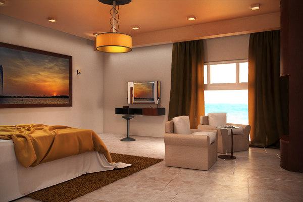 3d luxury hotel room design