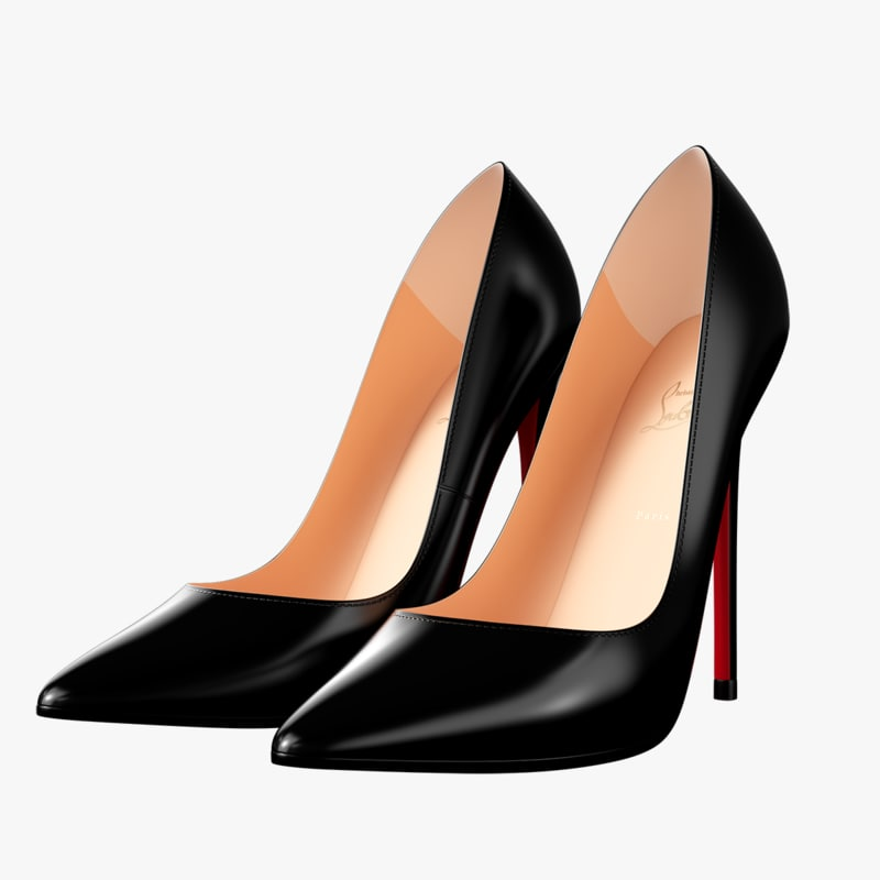 louboutin black women heels 3d max