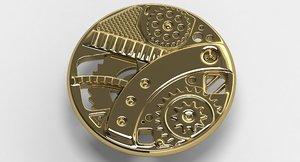 steampunk button 3d model